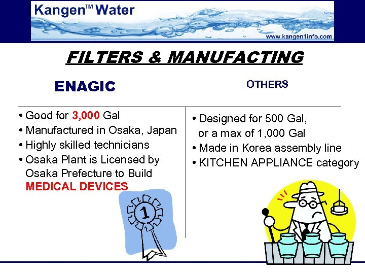 FILTERS & MANUFACTING ENAGIC • Good for 3, 000 Gal • Manufactured in Osaka,