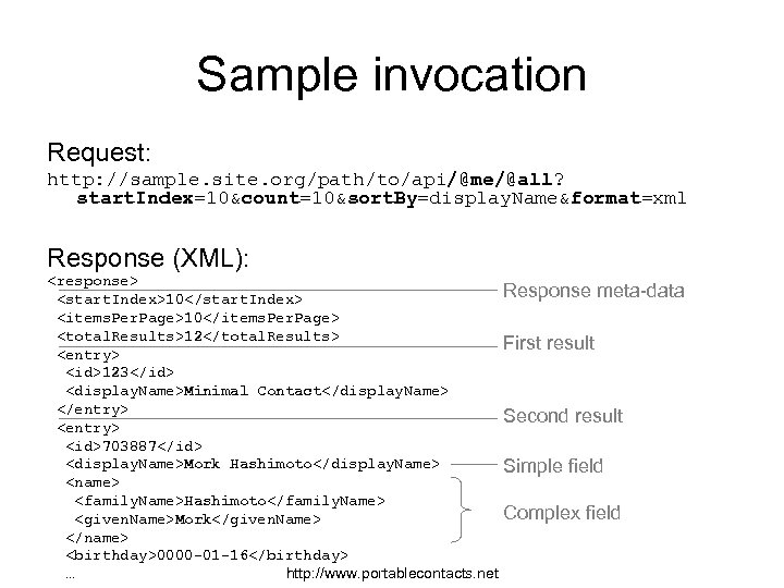 Sample invocation Request: http: //sample. site. org/path/to/api/@me/@all? start. Index=10&count=10&sort. By=display. Name&format=xml Response (XML): <response>