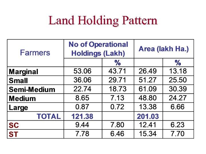 Land Holding Pattern