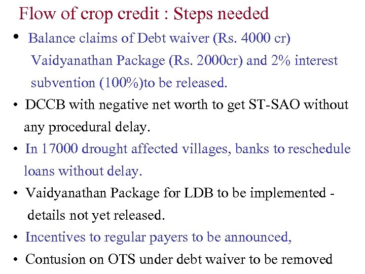 Flow of crop credit : Steps needed • Balance claims of Debt waiver (Rs.