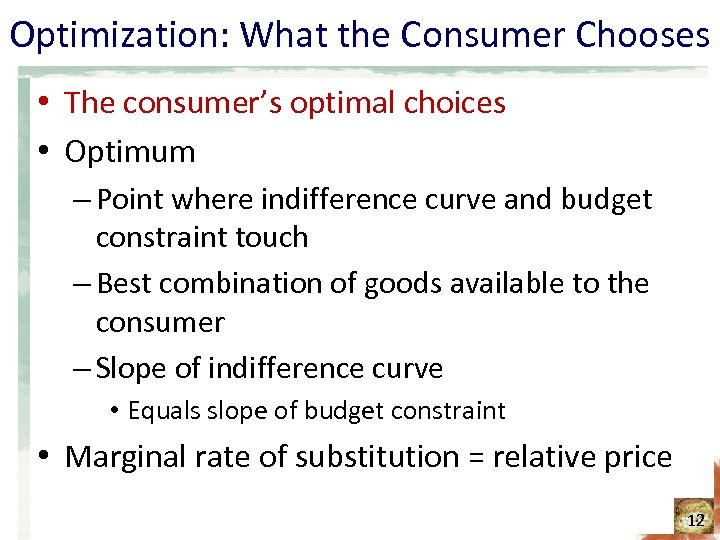 Optimization: What the Consumer Chooses • The consumer's optimal choices • Optimum – Point