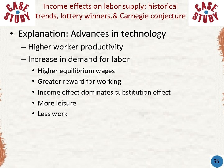 Income effects on labor supply: historical trends, lottery winners, & Carnegie conjecture • Explanation: