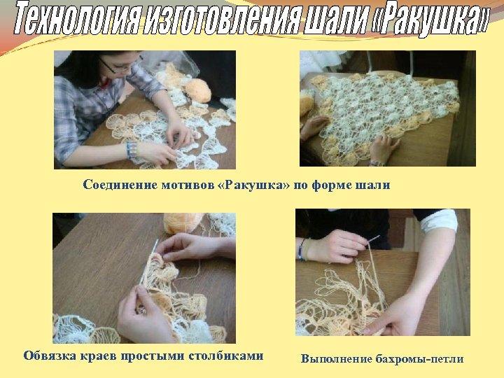 Соединение мотивов «Ракушка» по форме шали Обвязка краев простыми столбиками Выполнение бахромы-петли