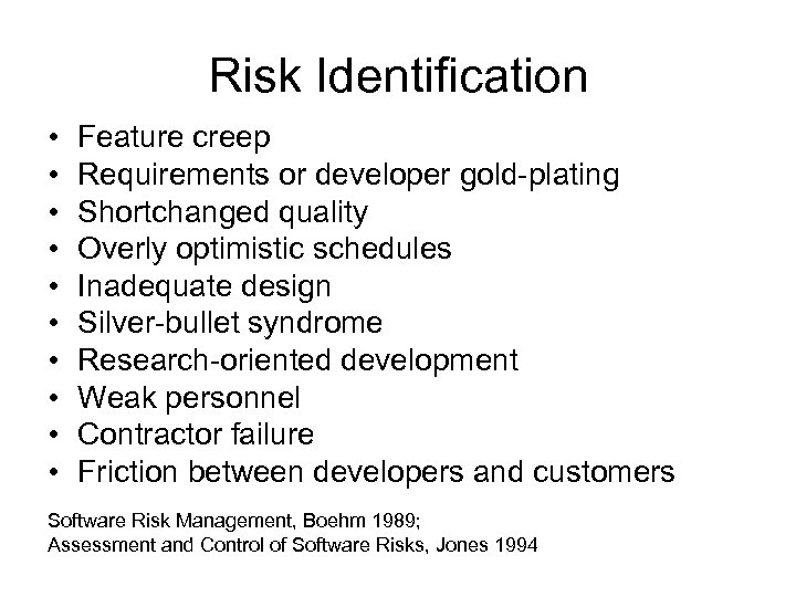 Risk Identification • • • Feature creep Requirements or developer gold-plating Shortchanged quality Overly