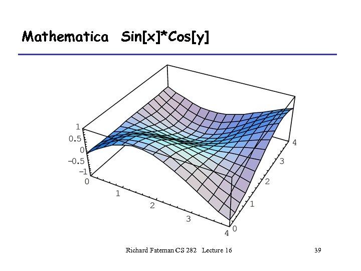 Mathematica Sin[x]*Cos[y] Richard Fateman CS 282 Lecture 16 39