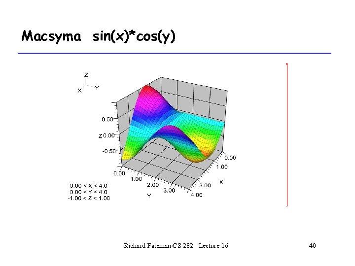 Macsyma sin(x)*cos(y) Richard Fateman CS 282 Lecture 16 40