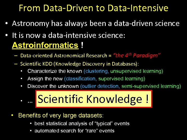 From Data-Driven to Data-Intensive • Astronomy has always been a data-driven science • It