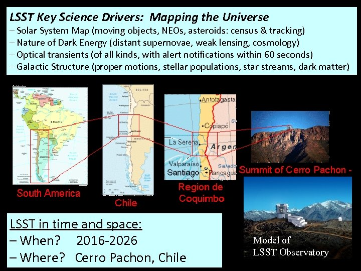 LSST Key Science Drivers: Mapping the Universe – Solar System Map (moving objects, NEOs,