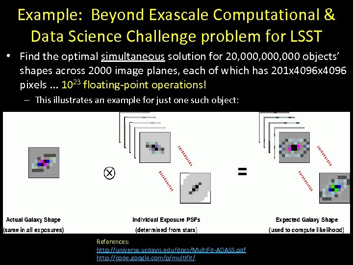 Example: Beyond Exascale Computational & Data Science Challenge problem for LSST • Find the
