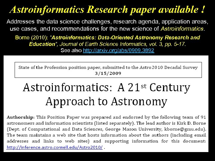 Astroinformatics Research paper available ! Addresses the data science challenges, research agenda, application areas,