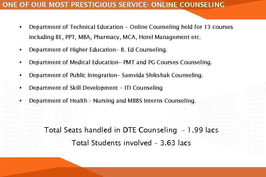 ONE OF OUR MOST PRESTIGIOUS SERVICE- ONLINE COUNSELING • Department of Technical Education -