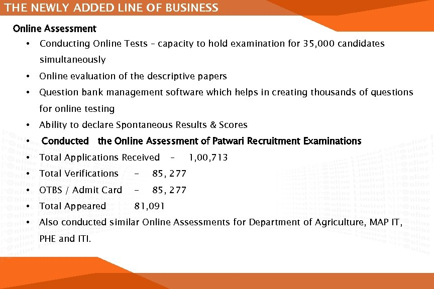 THE NEWLY ADDED LINE OF BUSINESS Online Assessment • Conducting Online Tests – capacity
