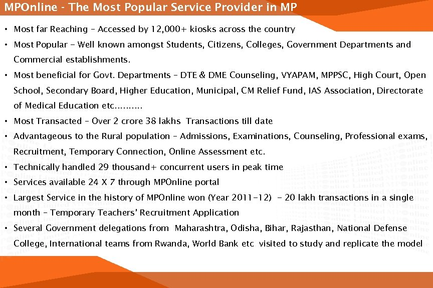 MPOnline - The Most Popular Service Provider in MP • Most far Reaching –