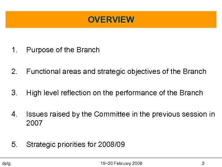 OVERVIEW 1. 2. Functional areas and strategic objectives of the Branch 3. High level