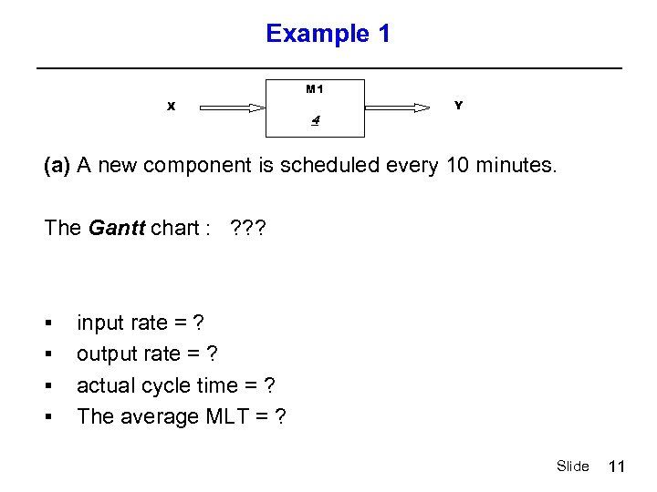 Example 1 M 1 X 4 Y (a) A new component is scheduled every
