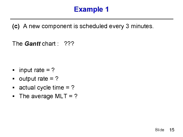 Example 1 (c) A new component is scheduled every 3 minutes. The Gantt chart