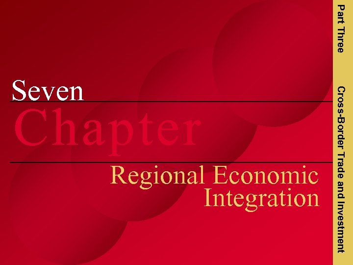 Part Three Chapter Regional Economic Integration Cross-Border Trade and Investment Seven