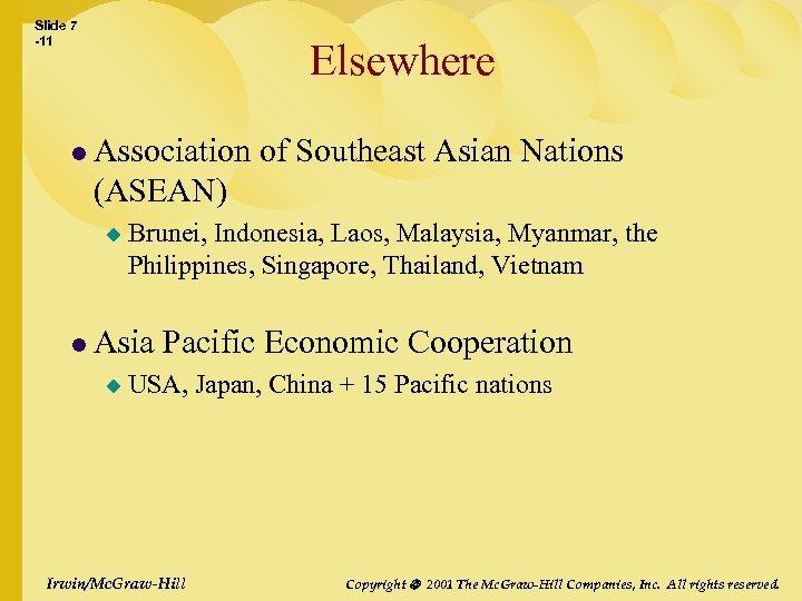 Slide 7 -11 Elsewhere l Association of Southeast Asian Nations (ASEAN) u Brunei, Indonesia,
