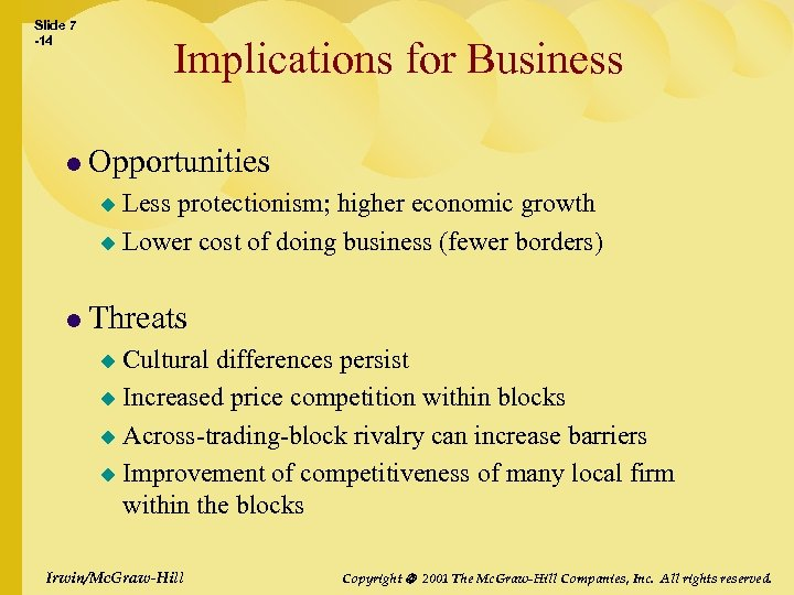 Slide 7 -14 Implications for Business l Opportunities Less protectionism; higher economic growth u