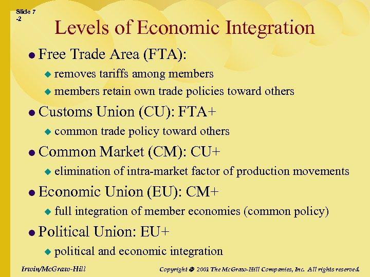 Slide 7 -2 Levels of Economic Integration l Free Trade Area (FTA): removes tariffs