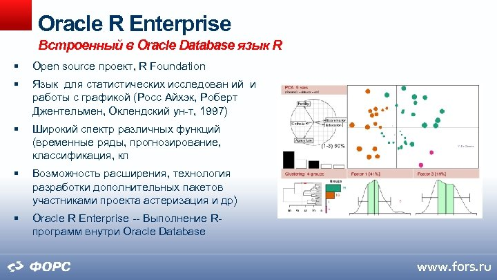 Oracle R Enterprise Встроенный в Oracle Database язык R Open source проект, R Foundation