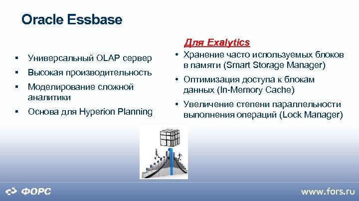 Oracle Essbase Для Exalytics Универсальный OLAP сервер Высокая производительность Моделирование сложной аналитики Основа для
