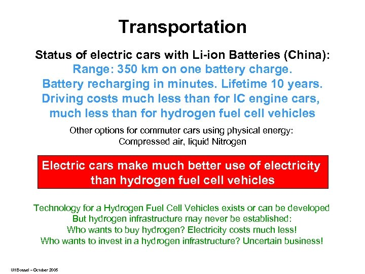 Transportation Status of electric cars with Li-ion Batteries (China): Range: 350 km on one
