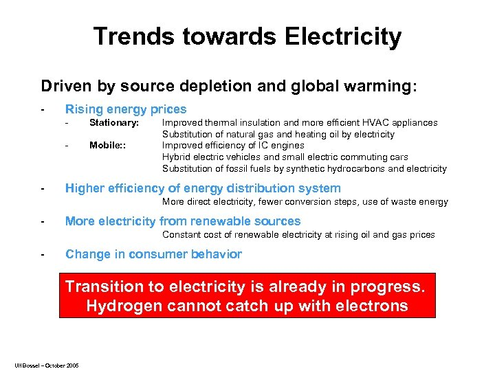 Trends towards Electricity Driven by source depletion and global warming: - Rising energy prices