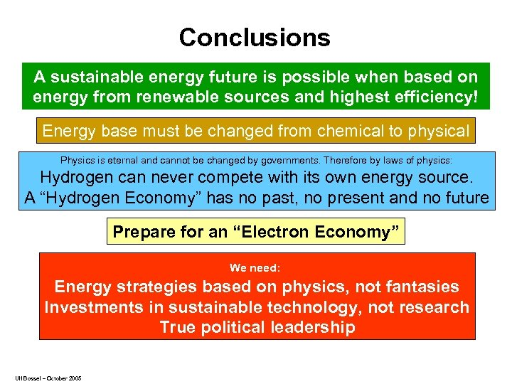 Conclusions A sustainable energy future is possible when based on energy from renewable sources