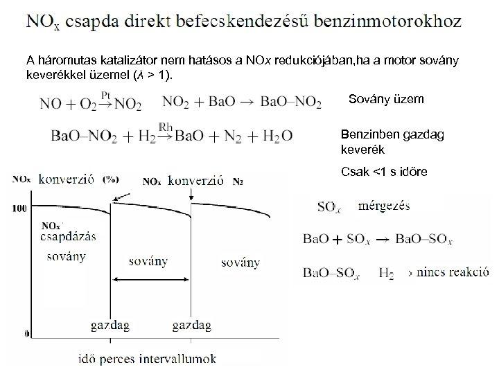A háromutas katalizátor nem hatásos a NOx redukciójában, ha a motor sovány keverékkel üzemel