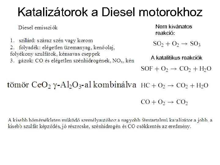 Katalizátorok a Diesel motorokhoz Nem kívánatos reakció: A katalitikus reakciók