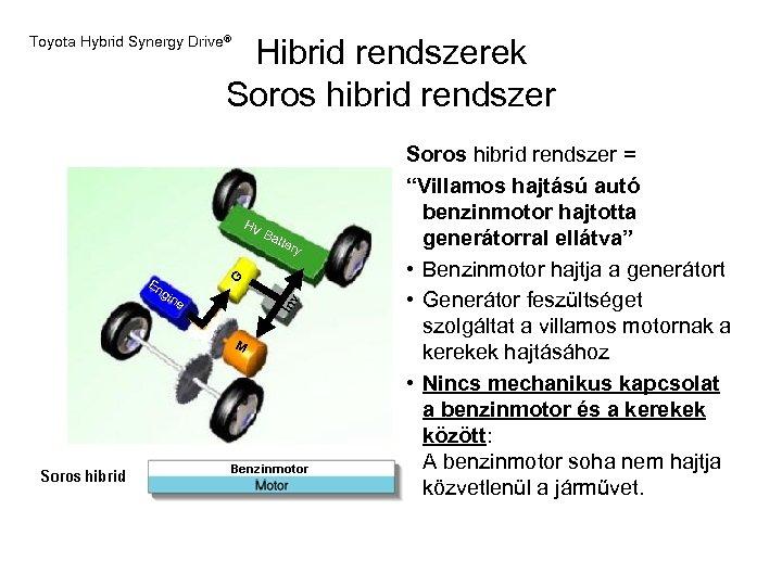 Hibrid rendszerek Soros hibrid rendszer Toyota Hybrid Synergy Drive® HV B atte G gin