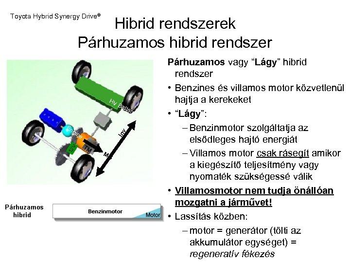 Toyota Hybrid Synergy Drive® Hibrid rendszerek Párhuzamos hibrid rendszer HV B atte 12 Inv