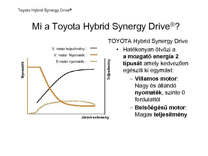Toyota Hybrid Synergy Drive® TOYOTA Hybrid Synergy Drive V. motor teljesítmény : • Hatékonyan