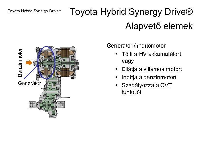 Toyota Hybrid Synergy Drive® Benzinmotor Alapvető elemek Generátor / indítómotor • Tölti a HV
