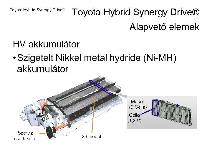 Toyota Hybrid Synergy Drive® Alapvető elemek HV akkumulátor • Szigetelt Nikkel metal hydride (Ni-MH)
