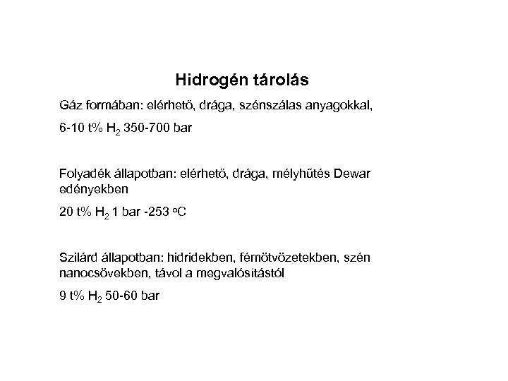 Hidrogén tárolás Gáz formában: elérhető, drága, szénszálas anyagokkal, 6 -10 t% H 2 350