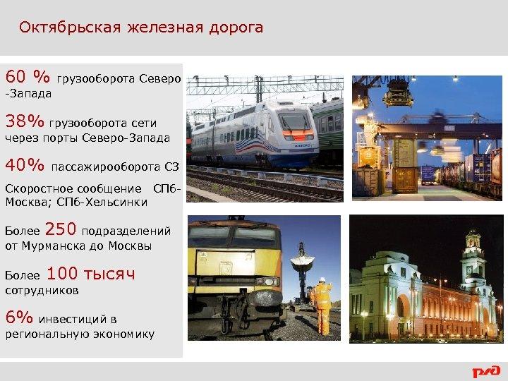 Октябрьская железная дорога 60 % грузооборота Северо -Запада 38% грузооборота сети через порты Северо-Запада