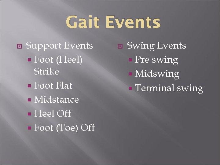 Gait Events Support Events Foot (Heel) Strike Foot Flat Midstance Heel Off Foot (Toe)