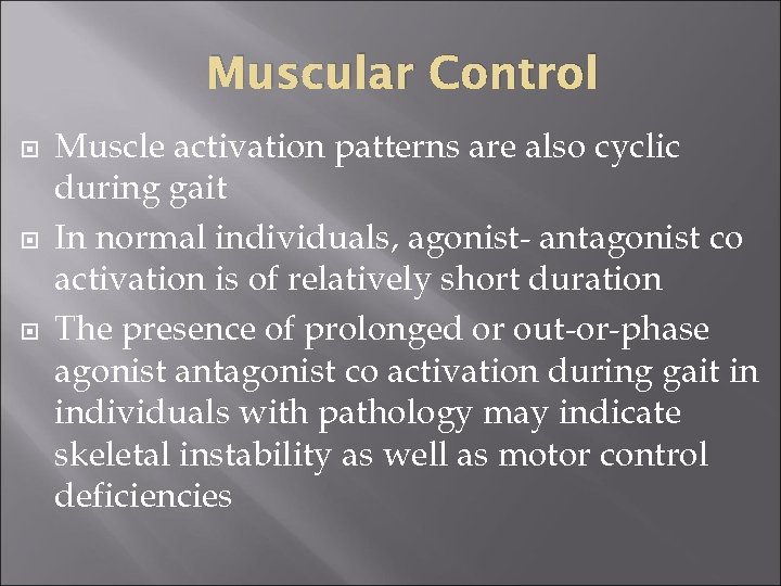 Muscular Control Muscle activation patterns are also cyclic during gait In normal individuals, agonist-