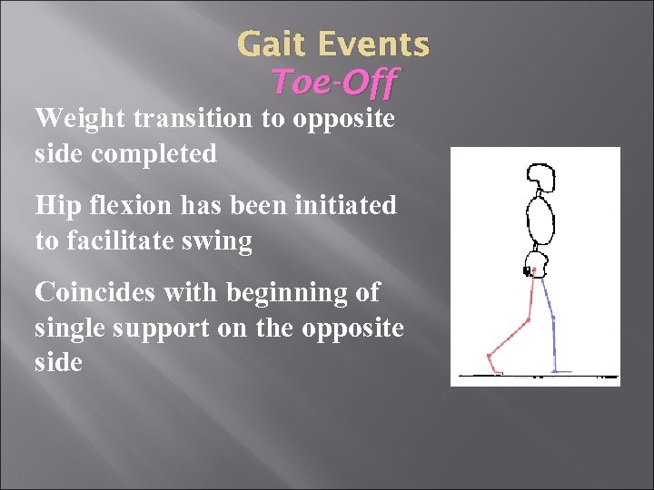 Gait Events Toe-Off Weight transition to opposite side completed Hip flexion has been initiated