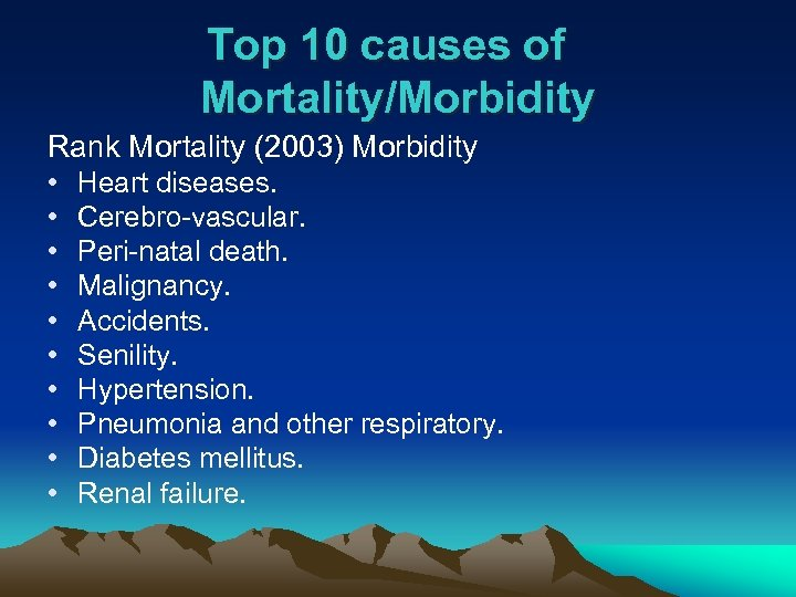 Top 10 causes of Mortality/Morbidity Rank Mortality (2003) Morbidity • • • Heart diseases.
