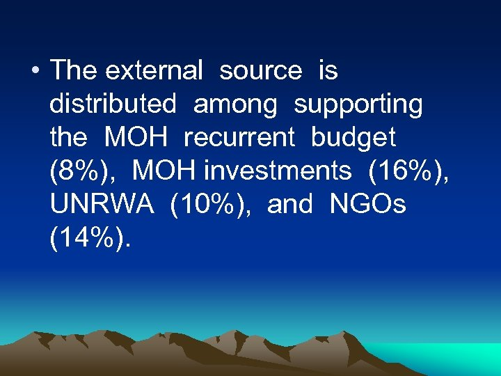 • The external source is distributed among supporting the MOH recurrent budget (8%),