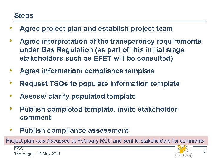 Steps • Agree project plan and establish project team • Agree interpretation of the