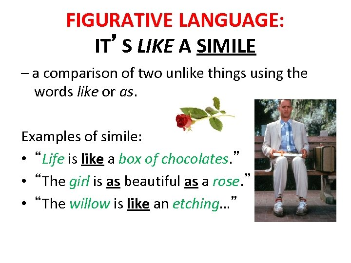 FIGURATIVE LANGUAGE: IT'S LIKE A SIMILE – a comparison of two unlike things using