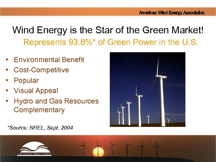 American Wind Energy Association Wind Energy is the Star of the Green Market! Represents