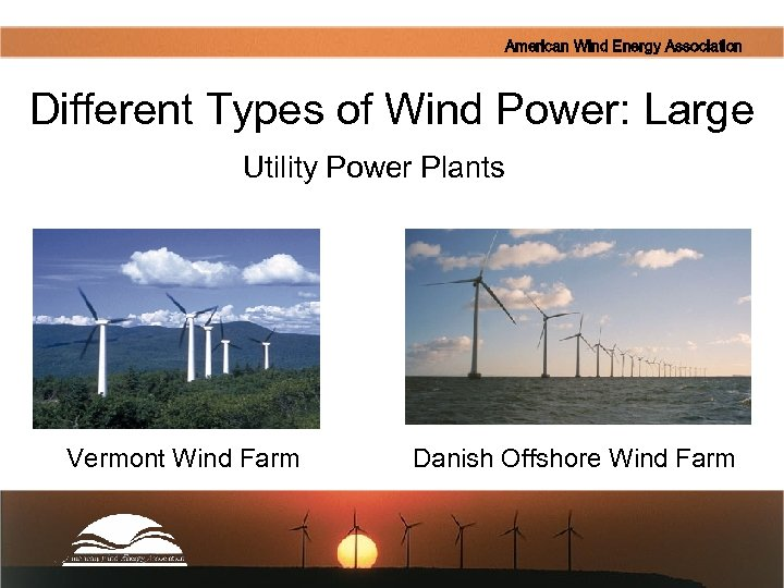 American Wind Energy Association Different Types of Wind Power: Large Utility Power Plants Wind