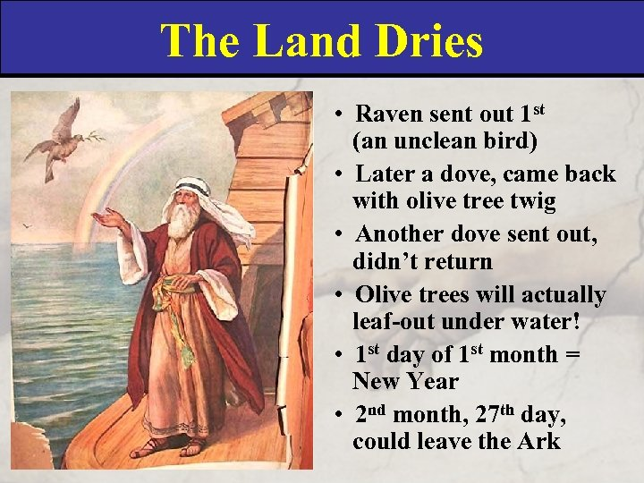 The Land Dries • Raven sent out 1 st (an unclean bird) • Later