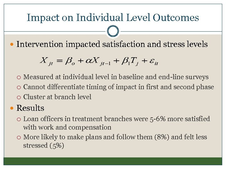 Impact on Individual Level Outcomes Intervention impacted satisfaction and stress levels Measured at individual