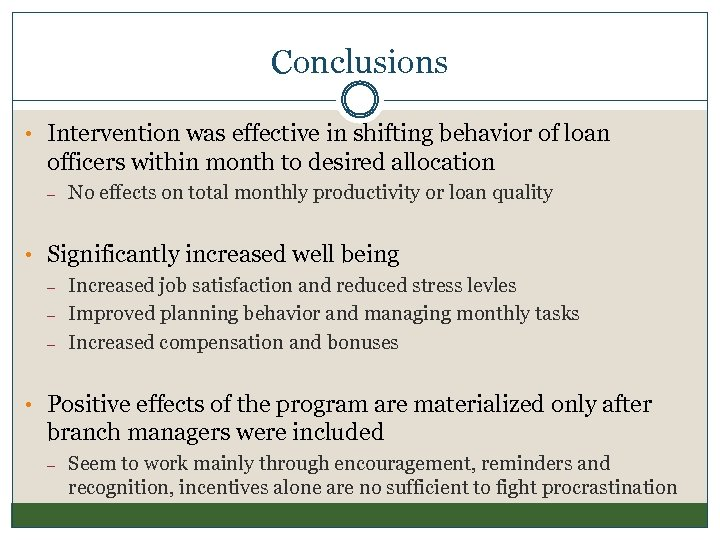 Conclusions • Intervention was effective in shifting behavior of loan officers within month to